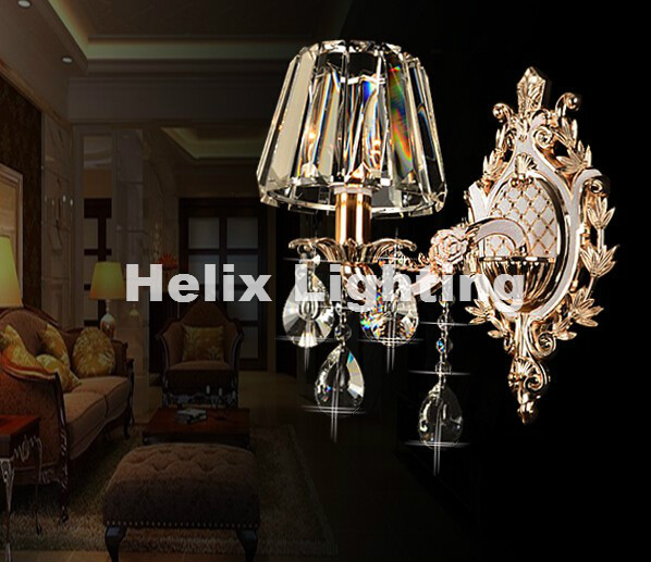 Modern Clear 1 Arm LED Crystal Bedroom Wall Lamp Crystal Sconce with 100% K9 Crystal Wall Lamp AC 100% Guaranteed Free Shipping free shipping chrome finish modern wall lamp bedroom sconce with cylinder crystal lamp shade