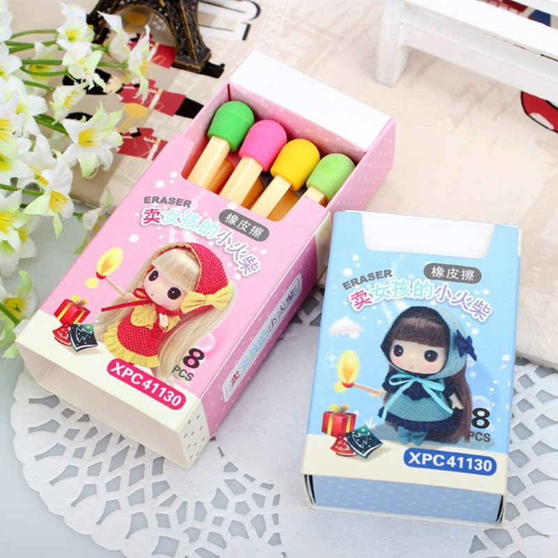 8PCS/Lot Kawaii Cute Matchstick Eraser Colorful Pencil Rubber Novelty For Kids School Supplies Student Office Stationery
