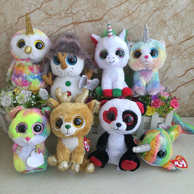 2018 Ty beanie boos collection plush toy owl Unicorn Enchanted Buttons  Snowman Heather Cat Nori Narwhal 2cb17055861