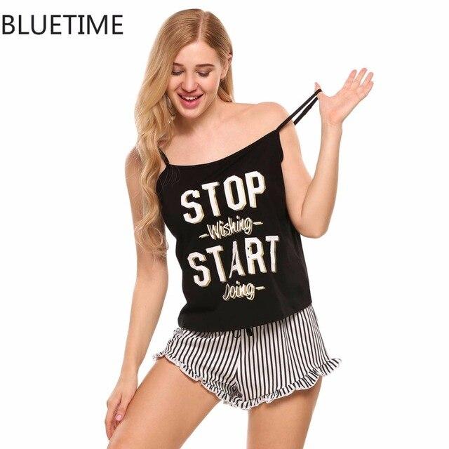 aa2b411579 Women Summer Pajamas Set Letter Print Cami Tops & Ruffled Striped Shorts  Sleepwear Home Sleep Night Suit Indoor Clothing Black