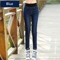 2016 Outono das Mulheres de alta elástica jeans rasgados lápis Senhoras Do Vintage Lápis Fino Magro Calça Jeans Feminina coreano skinny jean mais tamanho