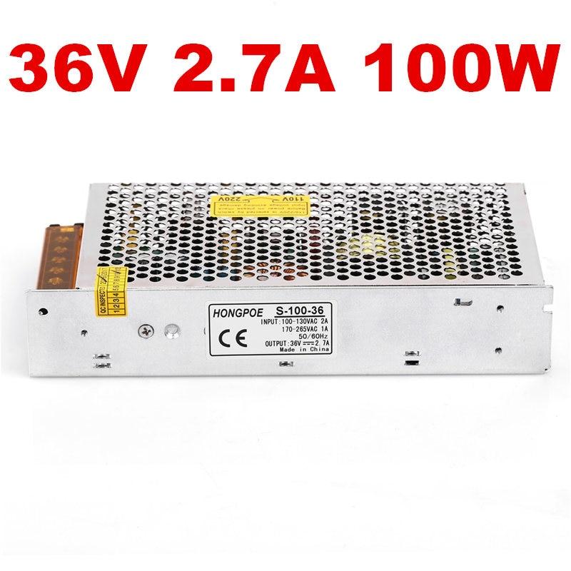 24PCS 100W 36V power supply 36V2.7A LED Driver 36V 2.7A power supply AC-DC 110/230VAC S-100-36 1pcs 75w 36v power supply 36v2a led driver 36v 2a power supply 36v 75w s 75 36