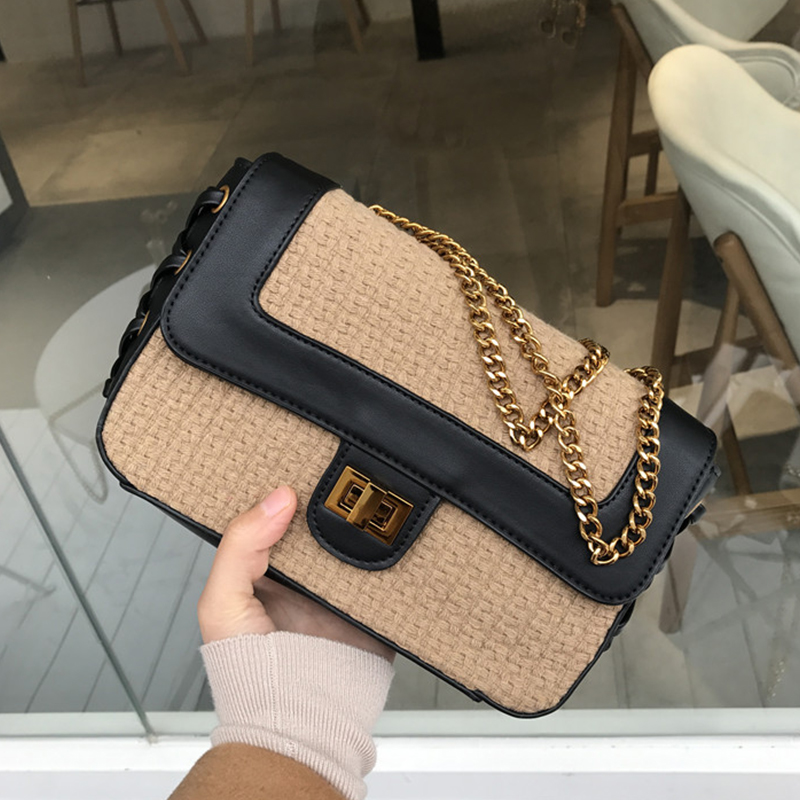 2018 new vintage style womens crossbody bags knitted female handbag luxury chain messenger bag for women small designer bag