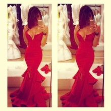 Vestido De Fiesta 2015 Sexy Red Mermaid Satin Prom Dresses with V Neck Tiered Slit Evening Party Gowns Homecoming