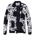 2016 Осень Зима мужская повседневная Куртки Плюс размер М-5XL Мускулистые Мужчины Пальто Черный Белый Точки Бренд Одежды Jaqueta Masculina MQ457