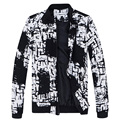 2016 Autumn Winter Men's casual Jackets Plus size M-5XL Muscle Men Coat Black White Dots Brand Clothing Jaqueta Masculina MQ457