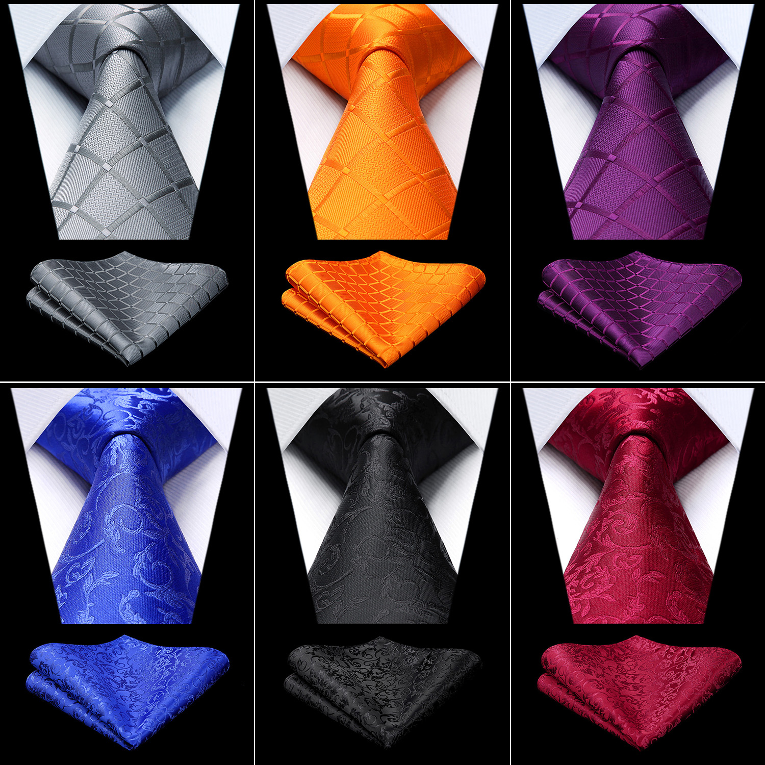 Party Wedding Men's Silk Woven Check Paisley Striped Neck Tie Pocket Square Set Classic Business Ties