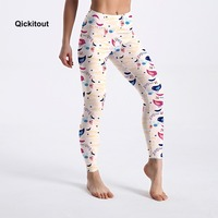 Qickitout Hot Sell Casual Leggings Women High Waist Leggings Lovely Birds Printing Pants Sexy Spring Fitness