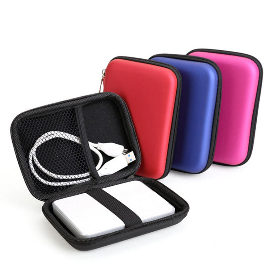 Portable Sailcloth PU Carrying Case Bag for 2.5 inch External Hard Drive Black