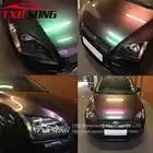 Премиум переливающийся Хромированый голографический автомобильный виниловый обертывание Радужный виниловый лист без пузырьков для автом... - 1
