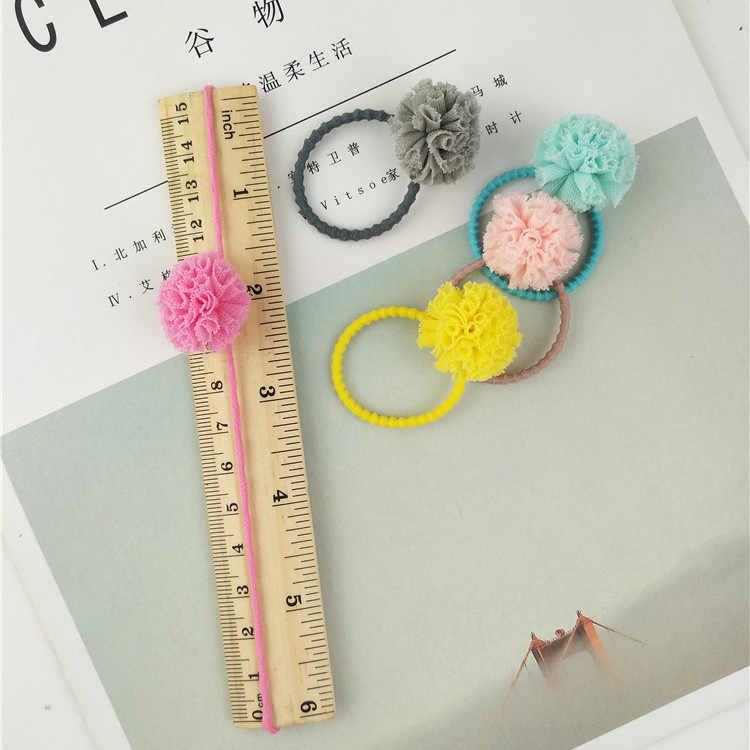 2 pieces Cute Hair Ropes yarn Floral Ball Elastic Hair Band Little Girls' scrunchie Pompom Hair Ties for kids Hair Accessories