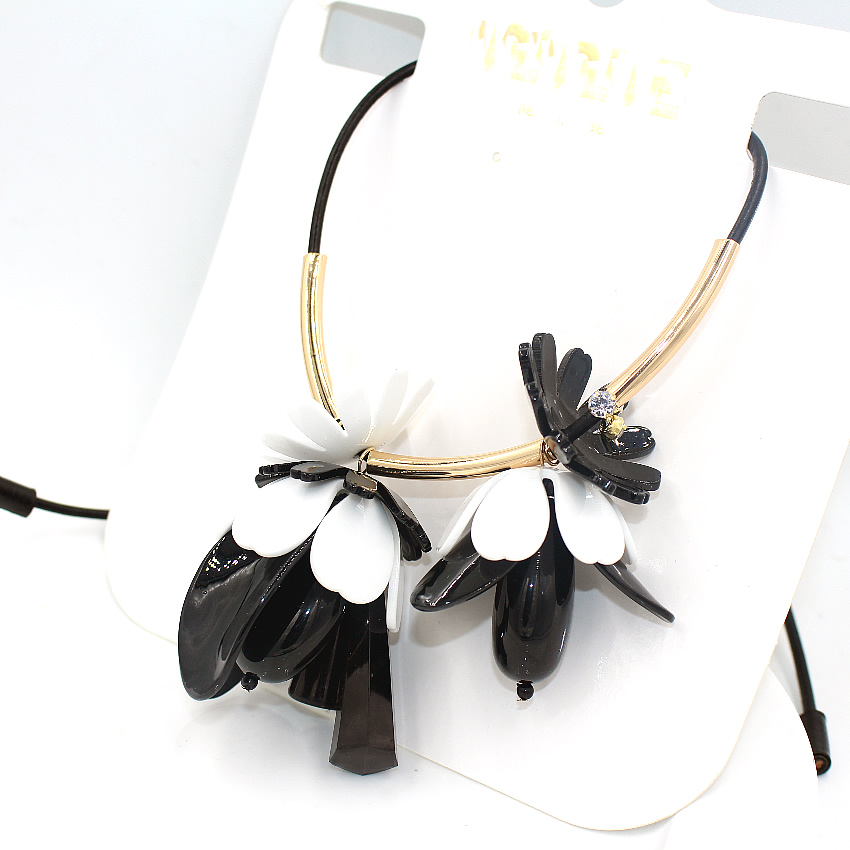 collares ZHONGLV 2016 fashion chain collar black leather ZA statement Necklaces women color flowers long & Pendant - Fashion boutique woman store