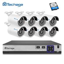 Techage HD H.265 8CH NVR Kit 4.0MP POE Überwachungskamera CCTV-System 8 STÜCKE 2592*1520 Ip-kamera Im Freien wasserdichte Überwachung Set