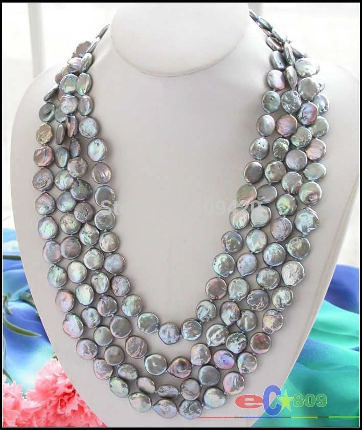 """~~ fast Shipping >>>Long 100"""" 14mm gray coin freshwater pearl cultured necklace"""