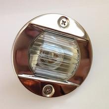 Redonda de aço inoxidável 12 v 24 v marinha barco luz da cauda 8 w lâmpada tungstênio navegação à prova dwaterproof água