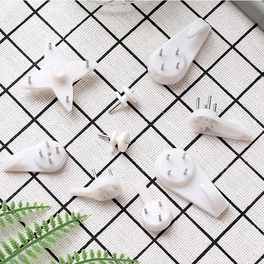 White Plastic Invisible Wall Mount Photo Frame Nail Hook Hanger Solid Photo Frame Wall Hooks Different Styles
