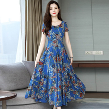 Women dress elegant casual Dress Sundress Cocktail Party Floral  Round printed Neck long dress сарафан недорого