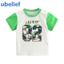 UBELIEF New 2017 Summer Print figure Pattern Cartoon Number 82 Shirts Cotton Clothes Baby Girls Baby Boys Clothes Kids Tees