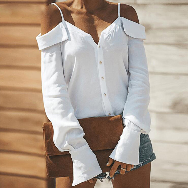 Sexy V Neck Button Blouse Off Shoulder Women Tops Autumn Long Sleeve Solid Streetwear Shirts Casual Backless Strap Blusas Spring