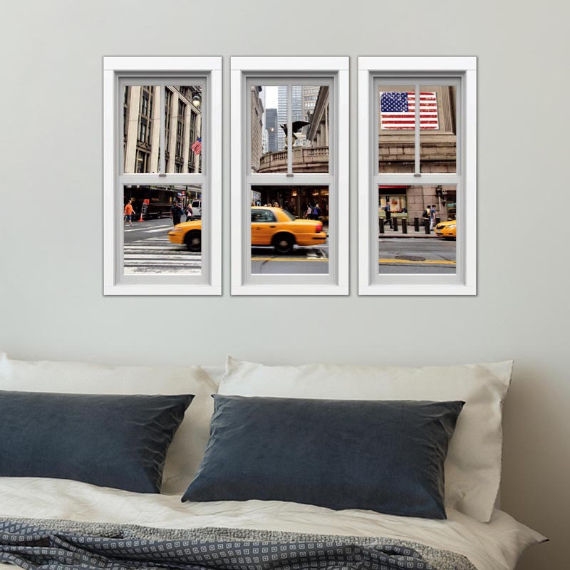 3d fake window City aerial view landscape vinyl wall stickers home ...