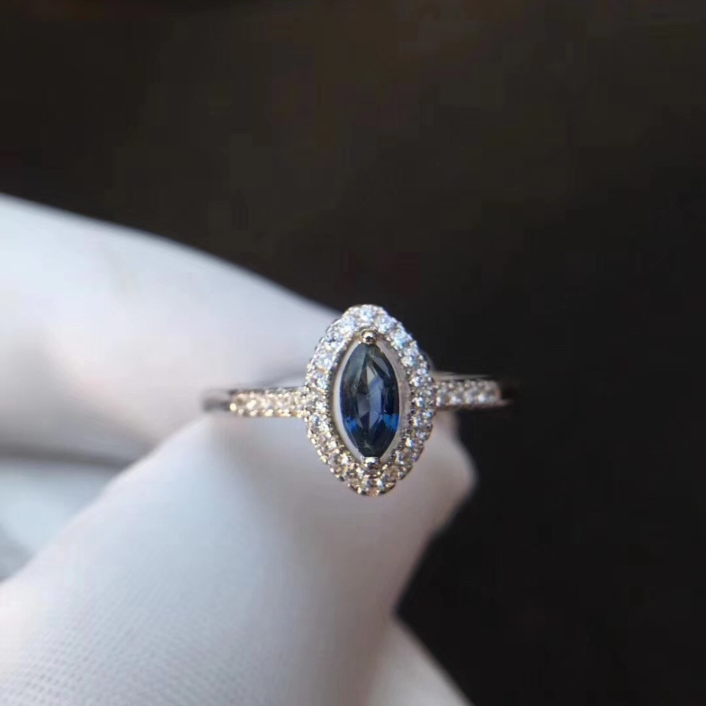 Natural real blue sapphire ring 925 sterling silver Fine handworked jewelry Finger rings 3*6mm цена