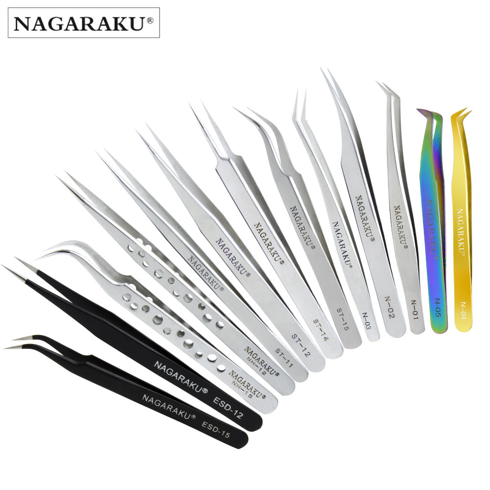 NAGARAKU Tweezers Stainless Steel Tweezers Especially For Mink Eyelash Extension Lashes Curved Straight Clip Pincers