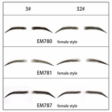 Neitsi New Handmade Human Hair Fake Eyebrows Lace Base For Women For party Wedding Cosplay Star Fake Eyebrows
