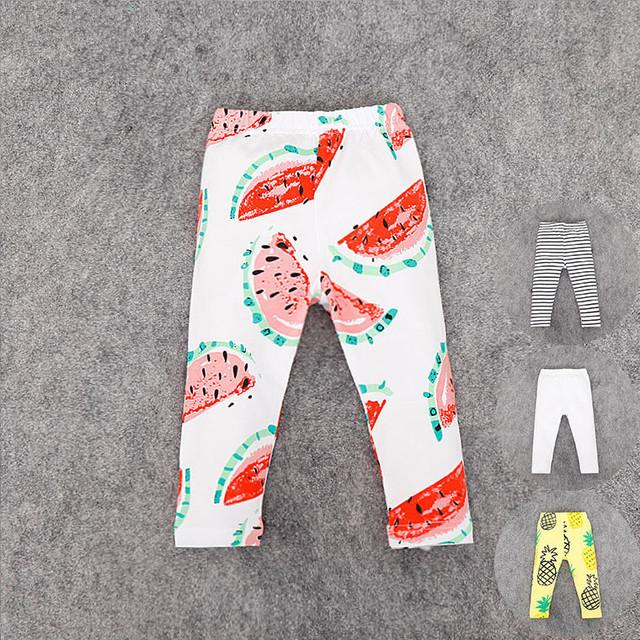 2016 de Primavera Y Verano niños pantalones a rayas Bebé/Piña/blanco/Sandía Algodón bebé pantalones leggings Pantalones Pantalones