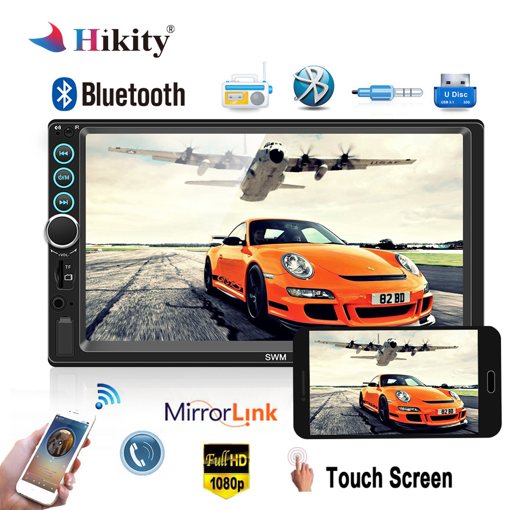 Hikity 2 Din Car Radio Multimedia Player Bluetooth Autoradio 7 Touch Screen MP5 FM Radio Auto