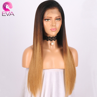 13X6 Lace Front Human Hair Wigs 150 Density Straight Ombre Brazilian Virgin Hair With Pre Plucked Natural Hairline Baby Hair Eva