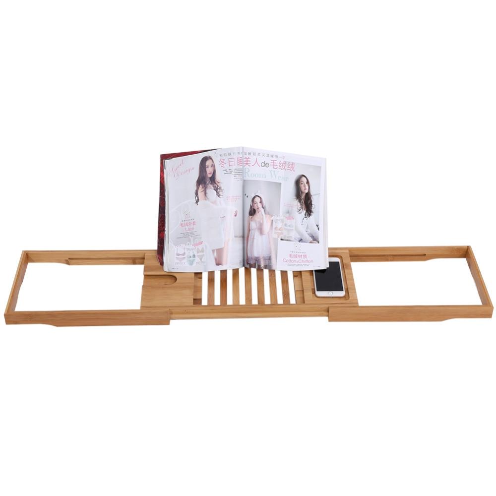 1Pc Extendable Bamboo Bathtub Rack Shelf Bathroom Shower Tub Caddy ...