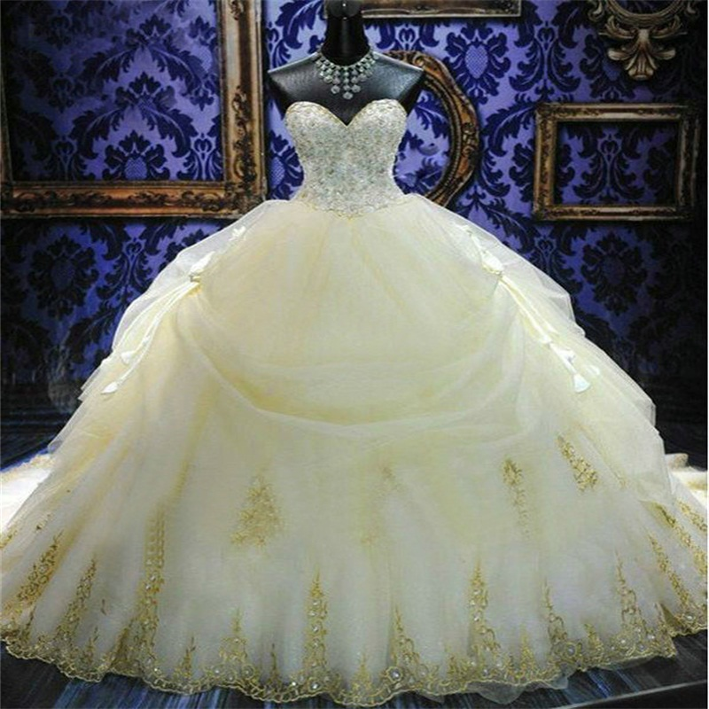 Perlée Magnifique Novia Arc Train Robe Princesse Bal De Robes Mariée Balayage Dentelle Sweetheart qFwFYr7xa
