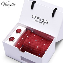 Gift Box 35 Styles Men`s Tie For Men Necktie Blue/Red/Pink Silk Hanky Cufflinks Set Mens Wedding Party Business