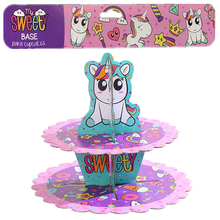 Omilut Birthday Unicorn Party Cake Stand Cartoon Baby Shower 1th Cupcakes Holder Mermaid Cupcake