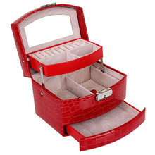 여자를위한 자동 가죽 보석 상자 3 층 저장 상자 귀걸이 반지 보석 주최자를위한 화장 용 조직자 관