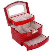 Caixa de jóias de couro automático caixa de armazenamento de três camadas para mulheres brinco anel organizador de cosméticos caixão para organizador de jóias