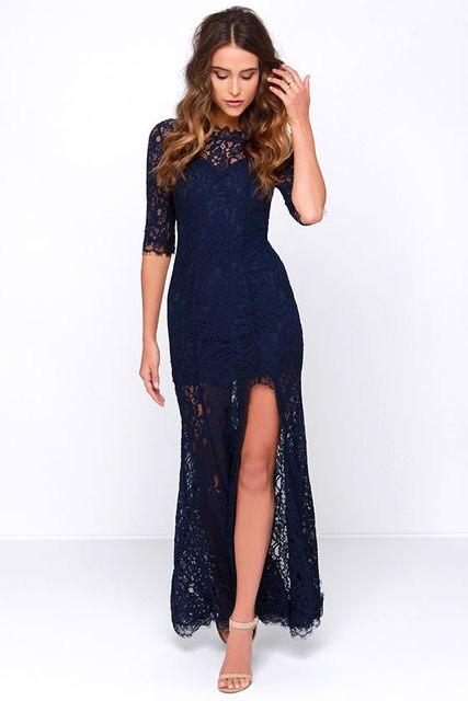 Long Sleeve Navy Blue Lace Prom Dress Slit Vestidos De