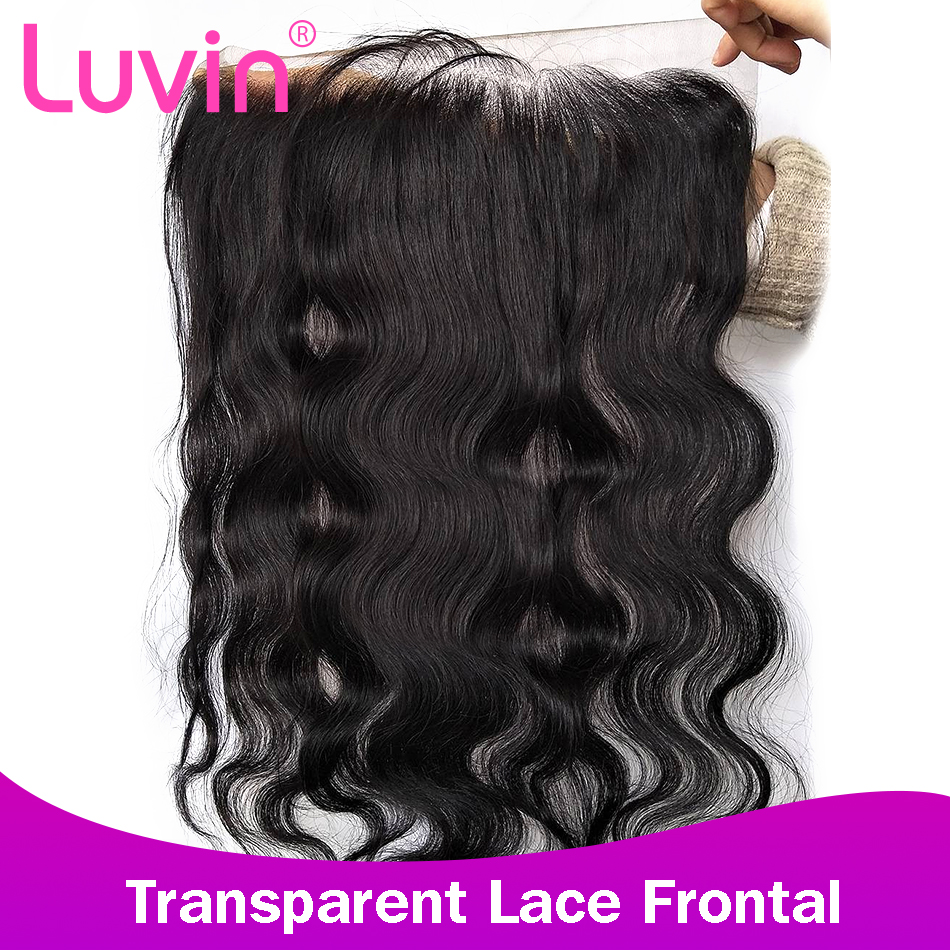Luvin 13x4 HD Transparent Swiss Lace Frontal Closure With Baby Hair Body Wave Ear To Ear Pre Plucked Brazilian Hair Frontals