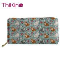 Thikin Floral Print Wallet for Women 3D Printed Dog Purse Girls Shopping Notecase Leather Long PU Handbag