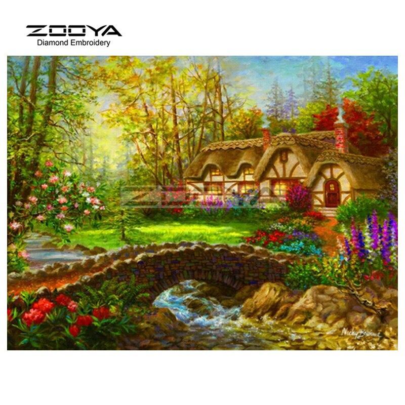 ①Zooya diamante Bordado 5d DIY diamante pintura puente casa bosque ...