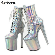 Sorbern Holographic Heel Booties Silver Women Extreme High Heels Short Boots Ladies Platform Boots Exotic Pole Dancer Heels