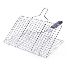 Buy HobbyLane Outdoor Square Grill Stainless Steel Detachable Portable Folding Grill Net Fish Clip Vegetable Clip Grilled Fish Net directly from merchant!