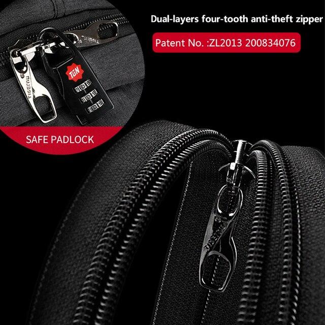 Waterproof Anti Theft Tigernu 15.6inch Laptop Backpack  Men Women Backpacks Slim School Bags Bagpack for Teens Black Grey 3