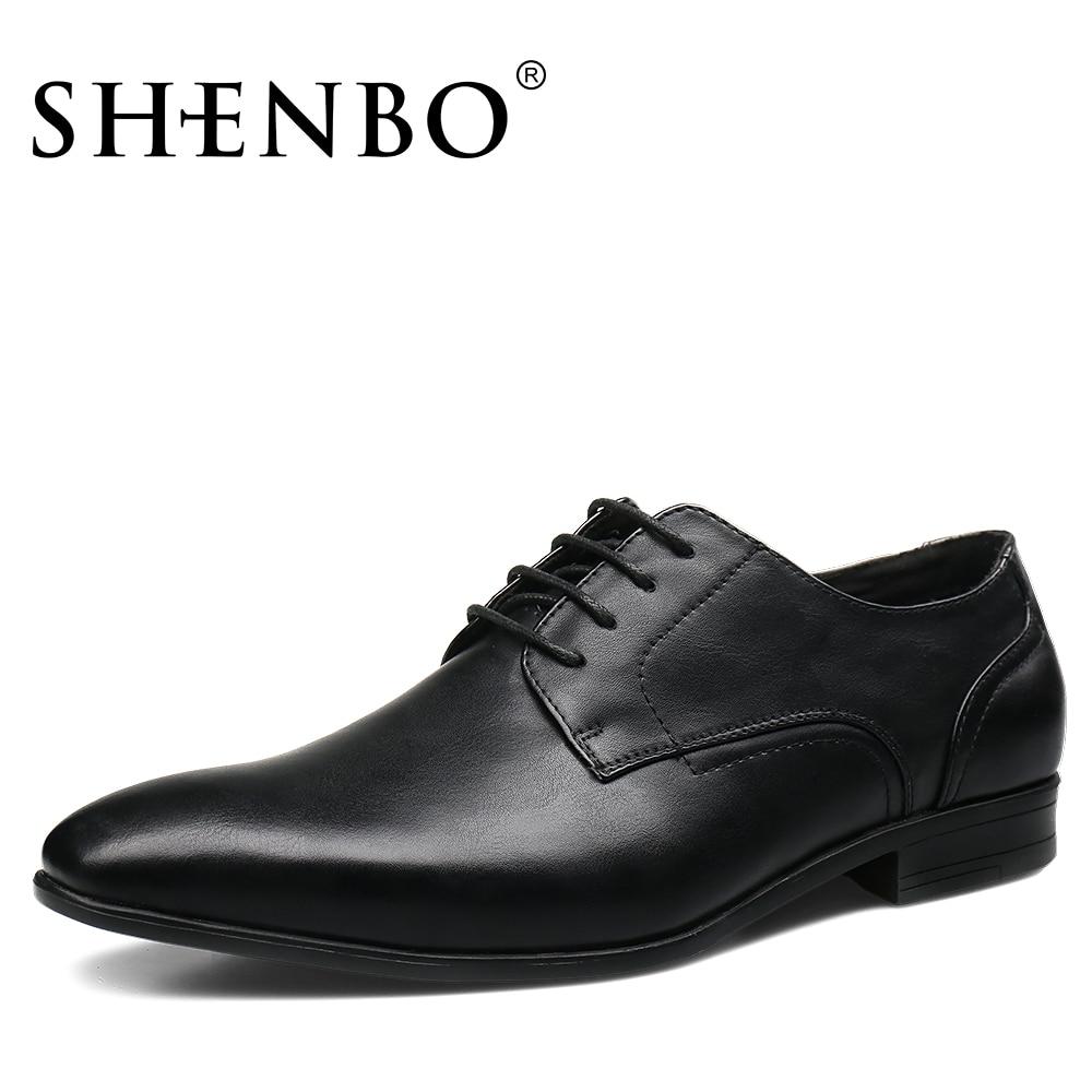 Shenbo Men S Black Classic Dress Shoes