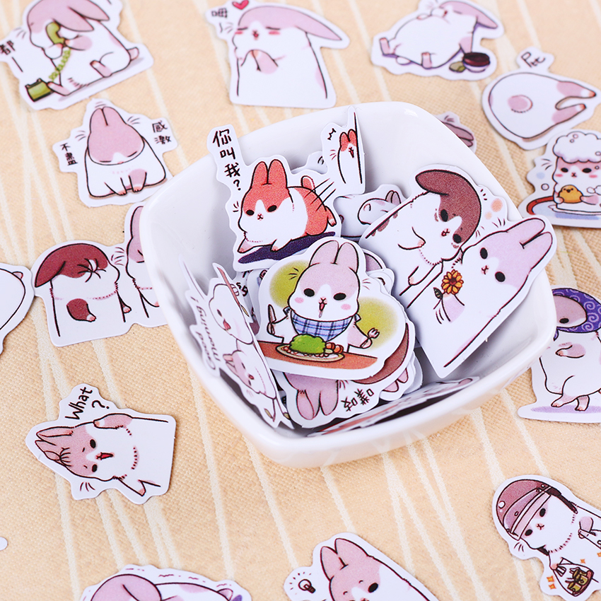 40pcs/set Cute Diary Stationery Stickers Pack Chubby Rabbit Series Scrapbooking Sticky Escolar School Supplies 40pcs lot cute cartoon decorative diy diary stickers kawaii planner scrapbooking sticky stationery school supplies