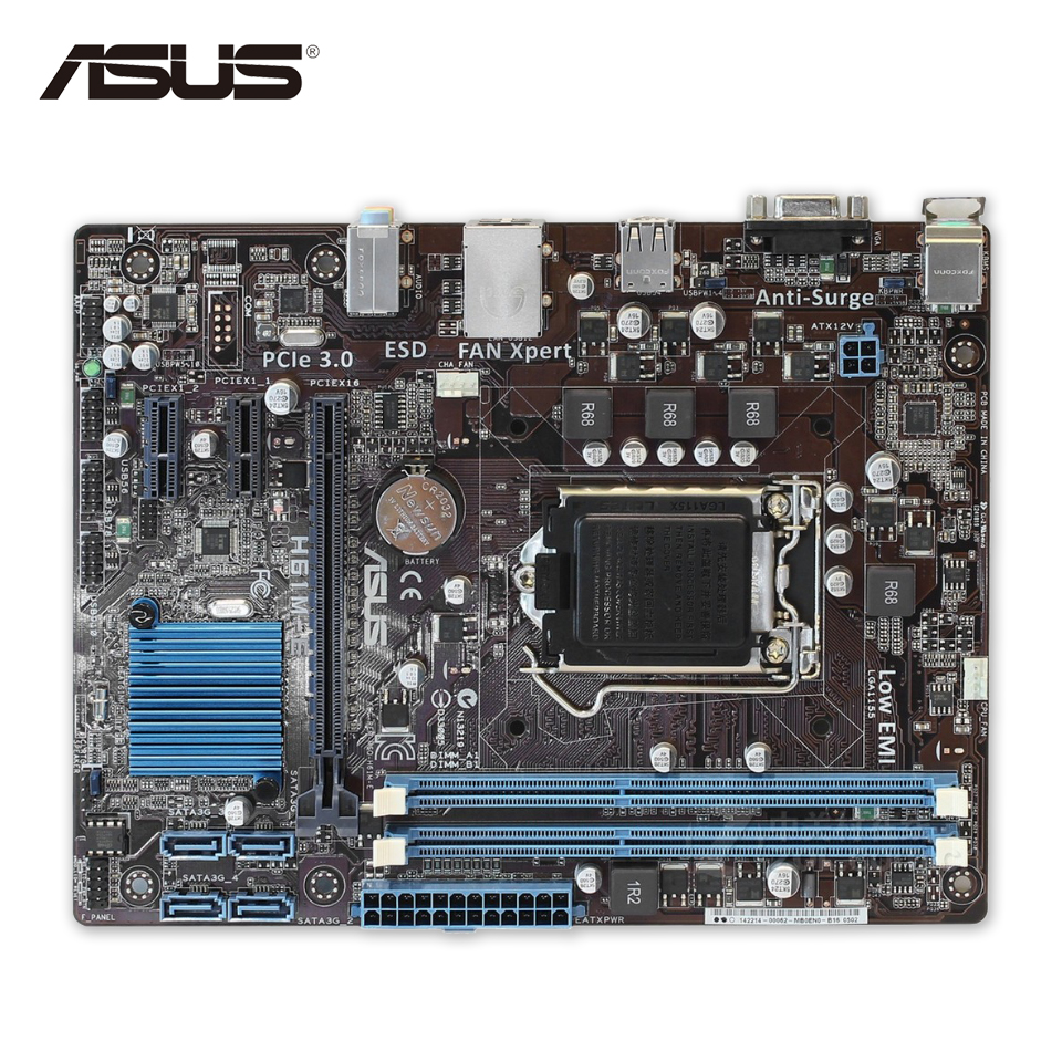 Asus H61M-E Original Used Desktop Motherboard H61 Socket LGA 1155 i3 i5 i7 DDR3 16G Micro-ATX On Sale edup ep 2913 300mbps 3dbi wireless repeater ap 802 11b g n wifi booster signal amplifier and bridge repeater white
