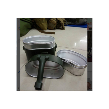 Army Lunch Box 3pcs in 1 Outdoor Camping Travel Tablewares WWII Germany Military Mess Kit Canteen Kettle Pot Food Cup Bowl 4
