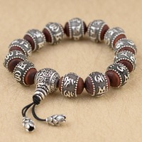New 100% Silver Sandalwood Traditional Tibetan Buddhism Bracelet Six Words Mantras Antiqued Metal Amulets Beads Men's jewelry