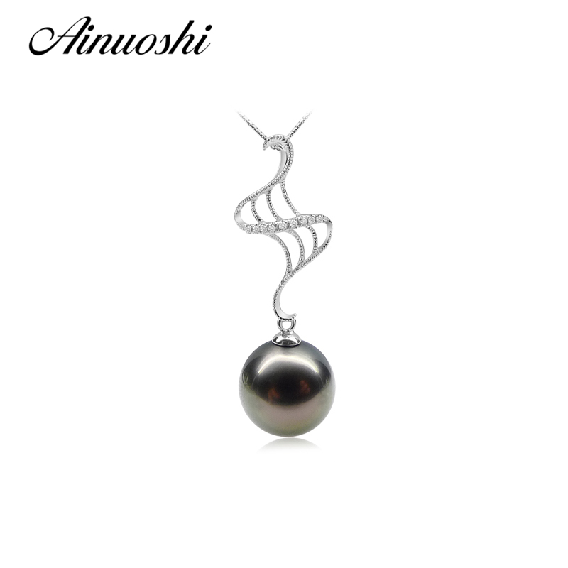 AINUOSHI Princess 925 Sterling Silver Anniversary Necklace Pendants 11-11.5mm Round Pearl Natural Tahitian Black Pearls PendantsAINUOSHI Princess 925 Sterling Silver Anniversary Necklace Pendants 11-11.5mm Round Pearl Natural Tahitian Black Pearls Pendants