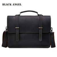 100 Crazy Horse Leather Vintage Laptop Briefcase Men S Business Casual Messenger Shoulder Leather Bags Men